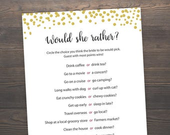 Would She Rather, Gold Bridal Shower, Bachelorette Games, Bridal Shower Games, Who knows the Bride Best, Hen Party Game, Hens Night, J001