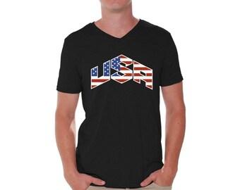 USA Flag Inside Shirt V-neck T shirt Tops 4th of July Fourth of July US National Colors Flag