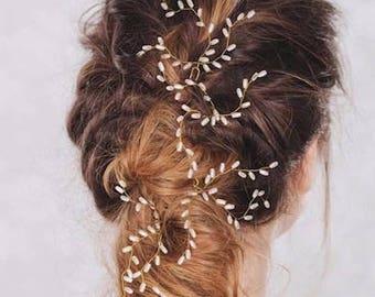 3 Pcs Bridal Pearl Vine Hair Pin, Bridal hair Clip, Bridesmaids gift