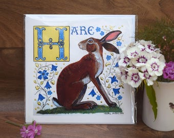 Hare with Harebells Greeting Card Artist's own, Medieval Bestiary style.By Tabitha McBain