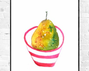 Original pears painting-watercolor-original painting-pears kitchen art-watercolors-pears art-unique work of art zen-zen