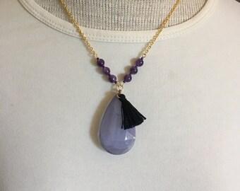 Gold Tone Lilac Teardrop Pendant Necklace