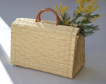 Portuguese Reed Bag, straw basket, summer basket, market bag, shopping bag, bolsa de mercado, sac de paille, Strohsack, bolso de paja.