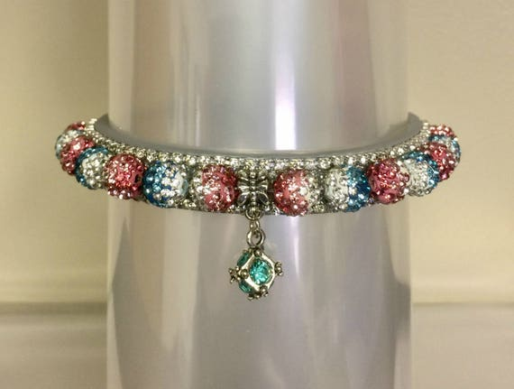 Cutie Pie Pet Collars TM ~Aqua Pink Pastel Fade Disco Ball~ Crystal Diamante Rhinestone Pet Dog Cat PU Leather Collar USA