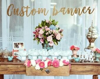 Custom banner, gold banner, baby shower banner, party banner, custom party banner, personalized banner, custom sign, personalized name