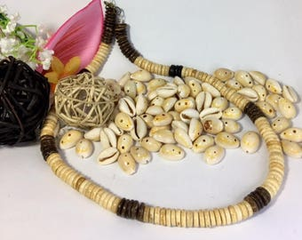 Mens Surfer Coco shell wood necklace CHRISTMAS SALE