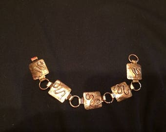 Hammered Brass Pericles Vinatge Bracelet with Snake Carvings