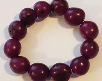 Striking Grape Plum Purple Beaded Bracelet