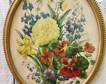 Vintage Floral Print Oval Frame