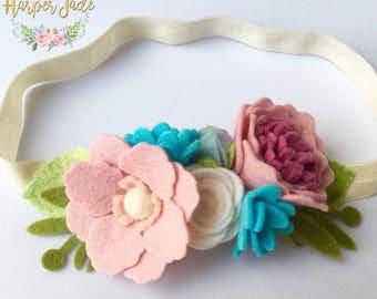 Floral felt crown, felt flower crown, pink and blue, girls hair accessories, girls floral headband, summer hair accessories