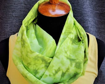 Green Infinity Scarf, Lime Infinity Scarf,  Green Tie Dye, Lime Green Scarf, Tie Dye Scarf, Fashion Scarf, Unique Scarf, Christmas Gift