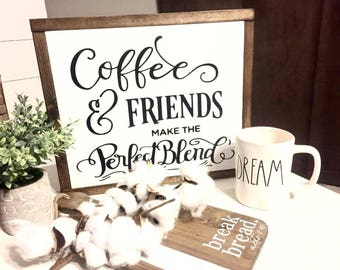 Coffee & Friends Wood Sign,Farmhouse Sign,Coffee Bar Sign,Farmhouse Decor,Farm Kitchen Sign,Kitchen,Coffee Sign,Rustic sign,Coffee shop