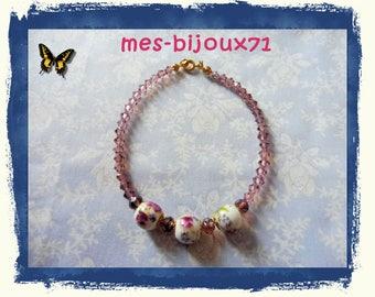 """Bracelet plum beads - bracelet glass beads and porcelain """"flower"""""""