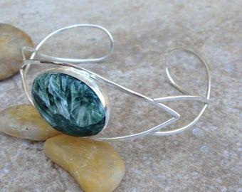 Seraphinite and Sterling Silver Cuff Bracelet
