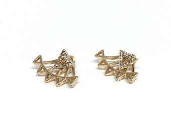 Triangle ear jacket earring