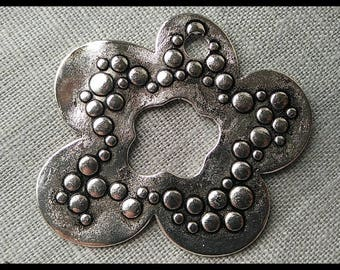Pendant 55 mm silver metal flower