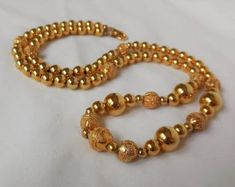 Long Vintage Gold Beaded Necklace Gold Tone Long Necklace Costume Jewelry Flapper Necklace