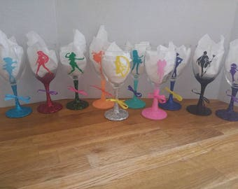 Sailor Scouts glitter wine glass set