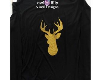 Gold Glitter Reindeer Flowy Shirt