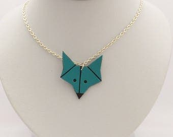 Necklace chain and Fox leather blue-green - handmade