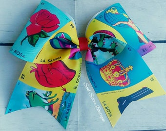 Loteria cheer bow or bowtie style hair bow Mexican bingo game hair clip Latinos mexican hair bows