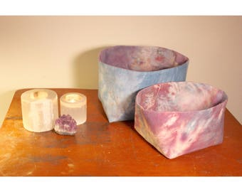 Amethyst Fabric Nesting Baskets/Reversible/Hand Dyed Cotton  - Small & Medium