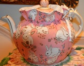 LARGE SIZED Tea Cozy with White Bunnies on Pink