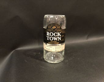 HANDCRAFTED Up-Cycled 750ML Rock Town Arkansas Bourbon Whiskey BOTTLE Soy Candle With/Without Pedestal Base. Made To Order