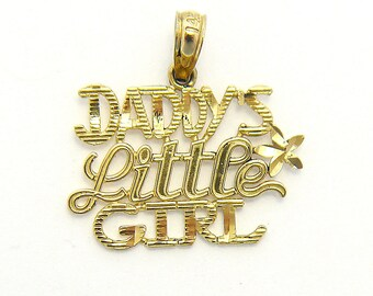 """14k """"Daddy's Little Girl"""" Pendant in Yellow Gold, Vintage Stock in Excellent Condition, Gift From Dad"""