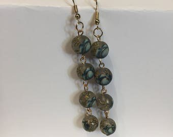 Blue rose Chain link earrings