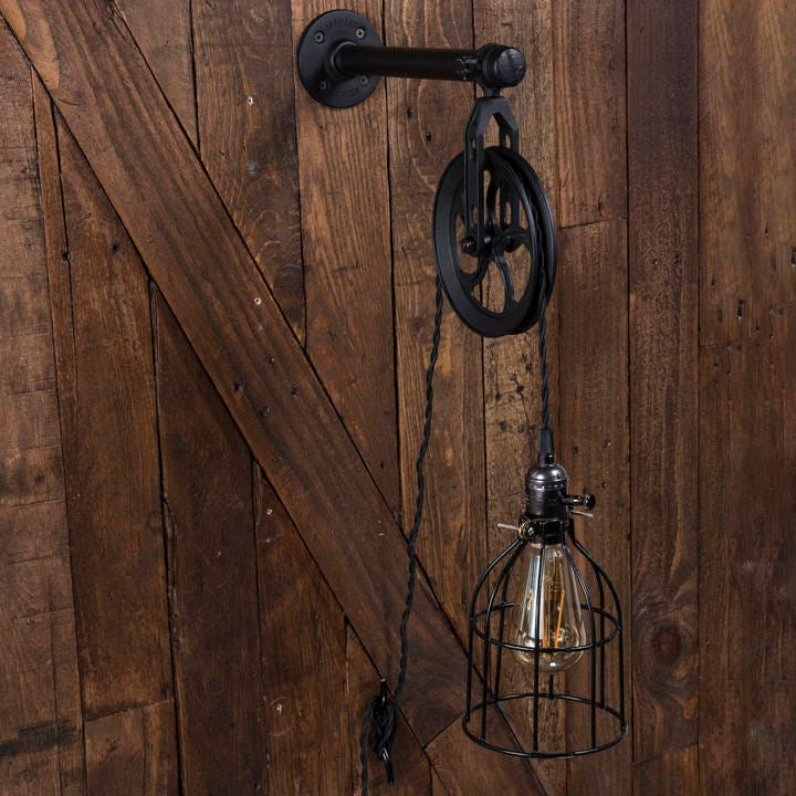 Industrial Pulley Light Fixture: Industrial Pulley Plug-in Wall Sconce Cage Pendant With