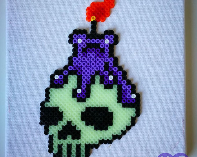 Skull, glow in the dark, candle, wax candle, Skull and Candle, Glow in the dark skull, bead art, perlers, mounted canvas, stretched canvas.