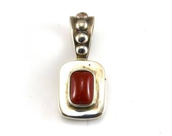 Coral Pendant, Sterling Silver, Vintage Pendant