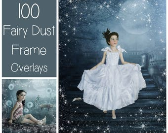100 Fairy Dust Frame Overlays - Frame PNG - Transparent Background -  Sparkle Clip Art - Glitter Overlay - Border - Angel Dust - Round Frame