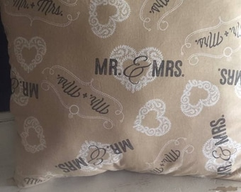 "Mr. &  Mrs. Pillow ( 17""x17"") Decorative PIllow,-Wedding Gift-Bride-to-Be or Bridal Shower Gift"