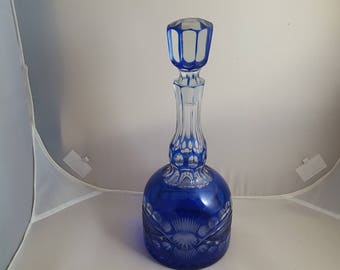Cut to Clear Cobalt Decanter