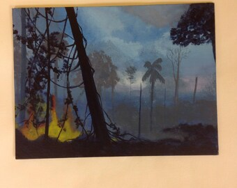 Forest fire painting