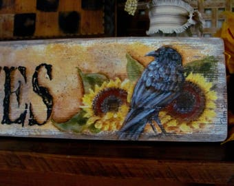 Primitives Crow and Sunflowers Wood Sign