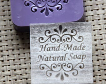 """Decorative """"Hand Made Natural Soap"""" Acrylic Soap Stamp"""