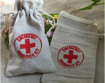 50 Pcs (9 cm x 15 cm) Lace Linen Emergency Hangover Kit Wedding Bachelorette Party Favor Gift Bags