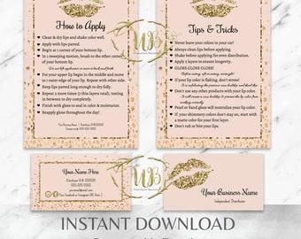 Gold|Glitter|Blush|LipSense Distributor Bundle|Blush LipSense|LipSense Business Cards|LipSense Tips|SeneGence Branding|LipSense Cards