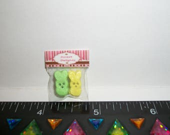 New Dollhouse Miniature Handcrafted Packaged Easter Chocolate Marshmallow Bunny Candy Sweet Dessert Food #915