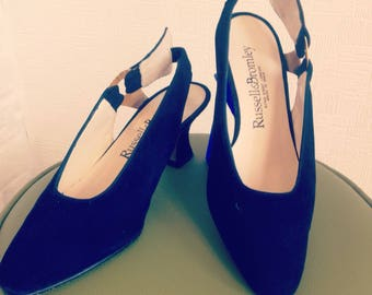 Vintage Russell & Bromley suede shoes/80's pumps/navy blue/sling back with side buckle detail/leather upper and sole/low heels/Size UK3