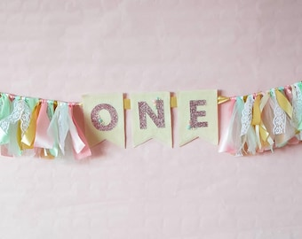 First Birthday Banner / Cake Smash Photo Shoot Prop / Pastel shabby chic ribbon and lace banner