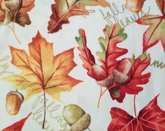 Harvest Leaves with Gold Words Fabric