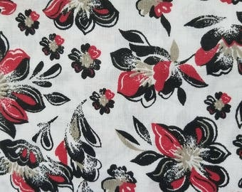 VL Black Red Tan Floral Poly Cotton Blend Fabric
