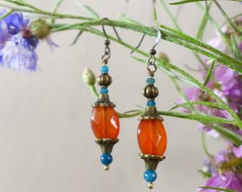 Oriental blue apatite and carnelian earrings