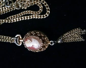 Vintage cameo and tassel pendant necklace