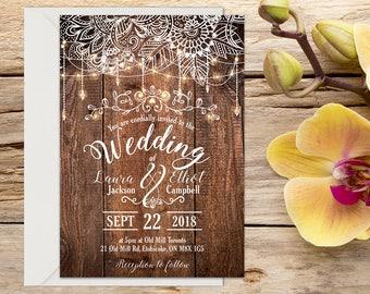 Printed Rustic Wedding Invitation, Rustic Wedding Invitation, Rustic wedding, Country Wedding, Printable Wedding, Wedding invitation