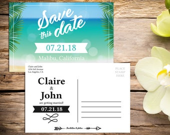 Save the Date Postcard template, Destination Wedding, Beach Wedding, Save the Date Template, Save the Date Card, Save-the-date